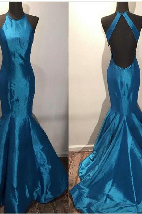 Sexy Prom Dresses,Halter Open Back Mermaid Prom Dress