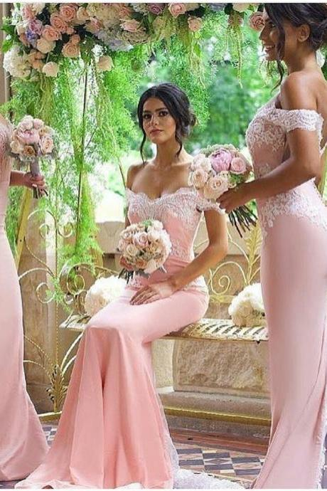 Sexy Prom Dresses,2016 Off-shoulder Fit to Flare Lace and Satin Bridesmaid Dress