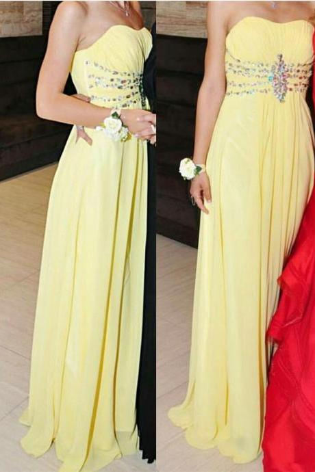 New Arrival Sexy Prom Dress, Prom Dresses 2016 Yellow Strapless Floor Length Pleated Prom Dress with Beadings and Rhinestones Evening Gown