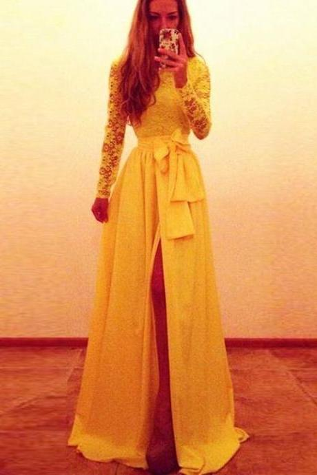 New Arrival Sexy Prom Dress, 2016 Yellow Long Sleeves Lace Prom Dresses Front Slit with Bow Sash A-line Evening Gowns