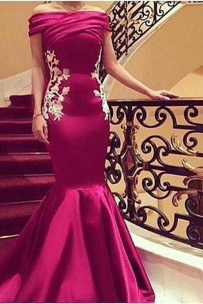 Sexy Prom Dresses,2016 Off-shoulder Mermaid Evening Dress with Lace Appliques Prom Gown