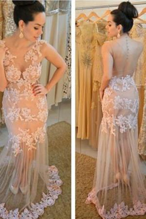 New Arrival Sexy Prom Dress, Sheer Back with Buttons Floor Length Sheer Partry Dress with Lace Appliques 2016 Prom Gown