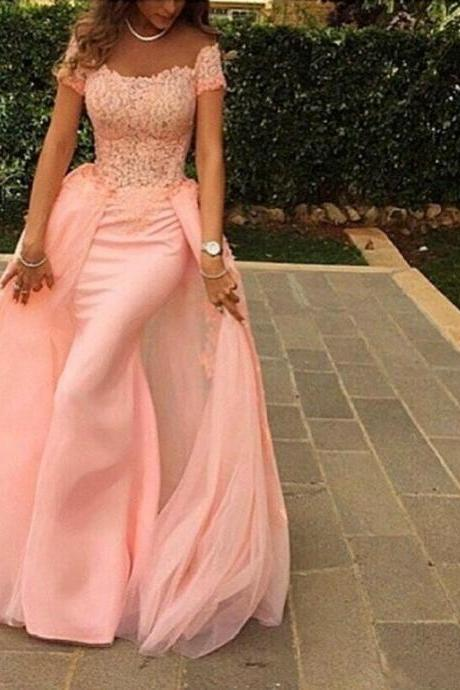 New Arrival Sexy Prom Dress,Lace Prom Dresses,Pink Off-shoulder Beaded Lace Bodice Evening Dress with Overlay Skirt Prom Gown