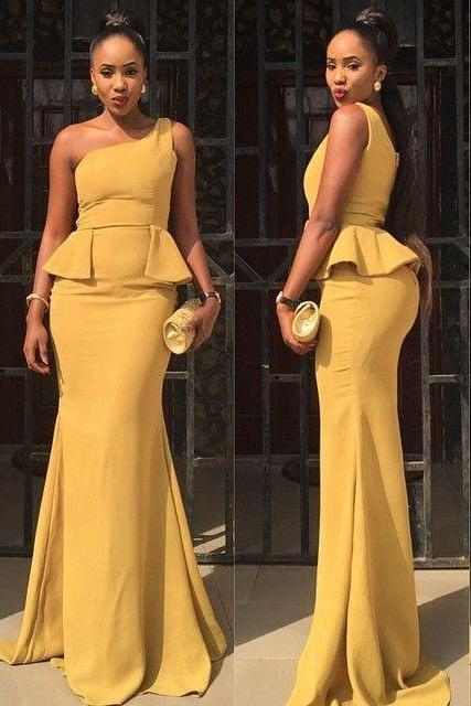 New Arrival Sexy Prom Dress, One Shoulder Peplum Dress Floor Length Daffodil Formal Occasion Dress