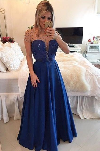 New Arrival Sexy Prom Dress,Lace Prom Dresses,Short Sleeves Floor Length Blue Prom Dress