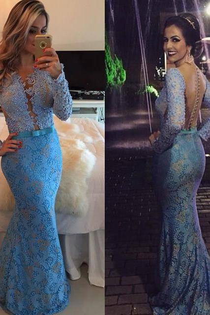 New Arrival Sexy Prom Dress,Long Sleeves Lace Party Dress 2016 Evening Gown