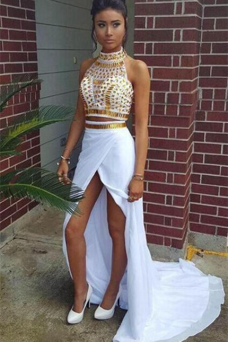 New Arrival Sexy Prom Dress,2016 Sexy 2 Pieces Dresses with Gold Rhinestones