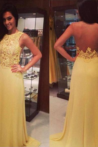 New Arrival Sexy Prom Dress,2016 Jewel Neckline Sheer Back Floor Length Yellow Lace Prom Dress Formal Occasion Evening Party Gown