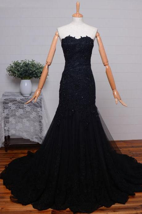 New Arrival Sexy Prom Dress,Sweetheart Black Lace Formal Occasion Prom Party Dress with Beadings