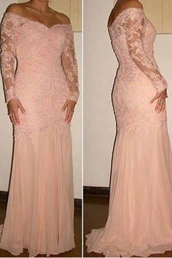 New Arrival Sexy Prom Dress,Off-the-shoulder Long Sleeves Lace Over Chiffon Evening Dress Prom Gown Formal Occasion Dress