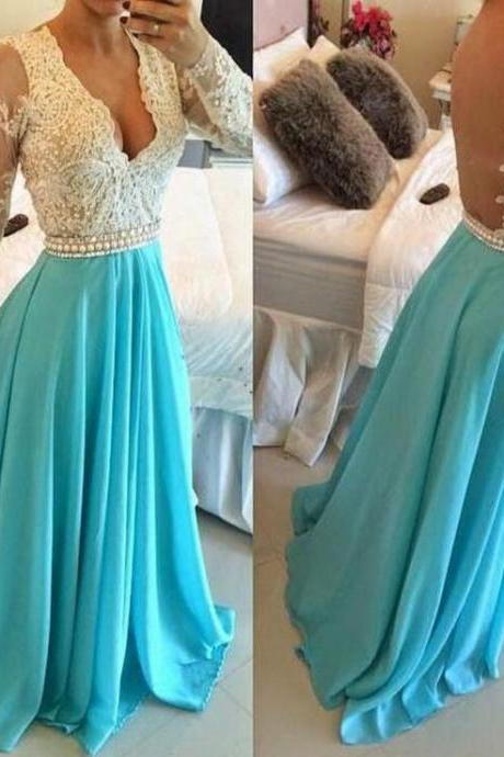 New Arrival Sexy Prom Dress Long Sleeves Long Sleeves Sheer Back Evening Dress Floor Length Prom Dress