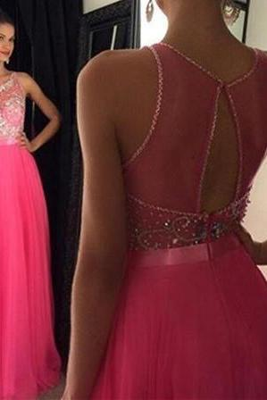 New Arrival Sexy Prom Dress Key Hole Back Boat Neckline Floor Length Evening Dress with Beadings