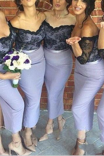 Sexy Prom Dresses,Off-shoulder Half Sleeves Lavender Tea Length Bridesmaid Dress with Black Lace Motify on the Bodice