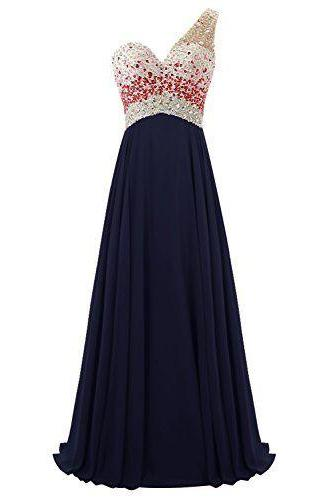 One-Shoulder Sweetheart A-line Chiffon Long Prom Dress with Beaded Bodice