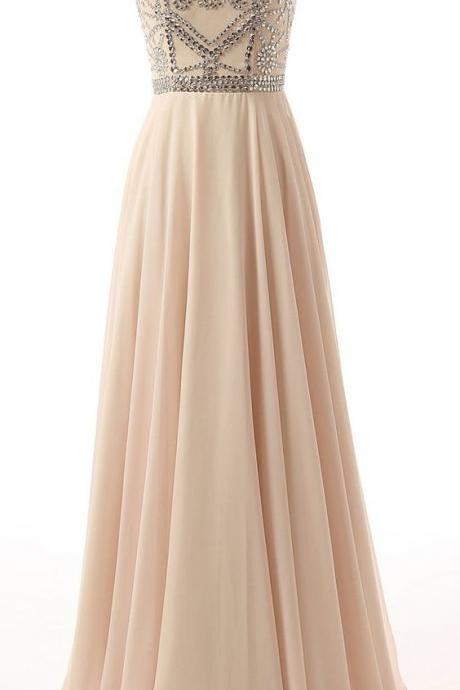 Floor Length Beaded Cap Sleeve Chiffon Prom Gown, Evening Gown