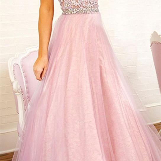 Pink sequined evening dress prom dress