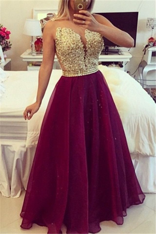 Sweetheart Burgundy Chiffon Long Prom Dress Popular Plus Size Formal ...